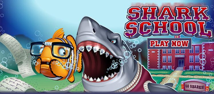 Shark School slot review image and logo