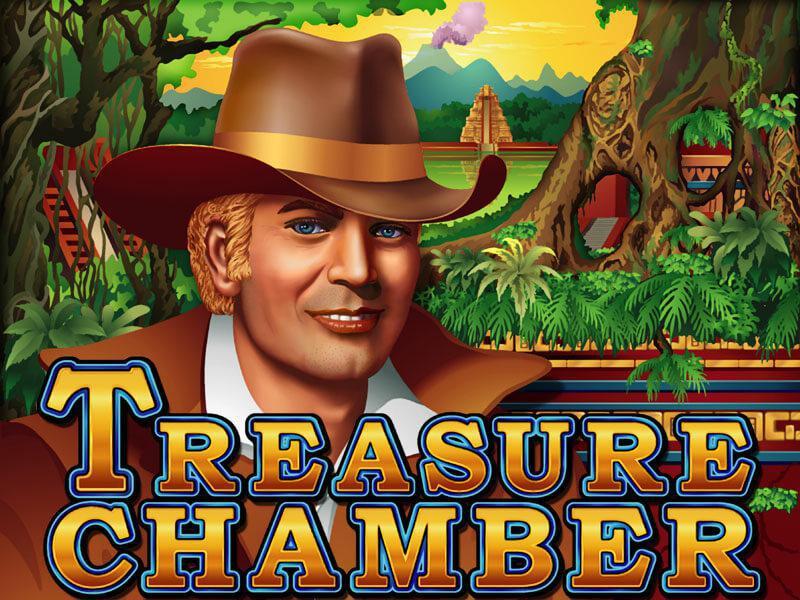Treasure Chamber slot review image and logos