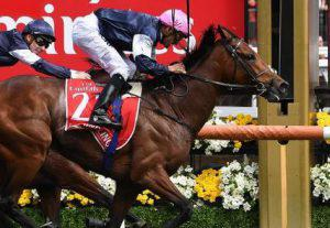 Horse and rider winning Melbourne cup