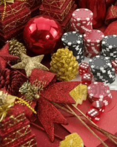 Christmas decor and gambling chips and dice