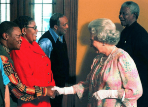 hugh Masekela shaking queen elizabeth's hand with Nelson Mandela