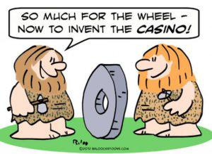 cartoon of cavemen inventing the wheel