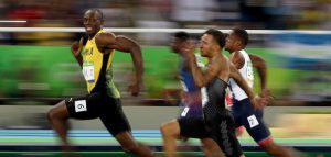 Usain Bolt winning