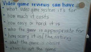 a list of requirements for a game review