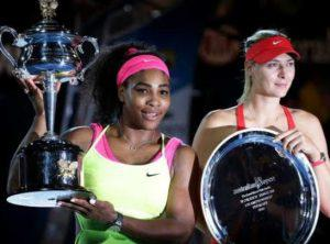 Serena and Maria holding Trophies