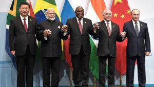 Brics leaders standing together