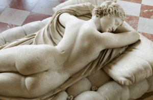 sculpture of woman sleeping